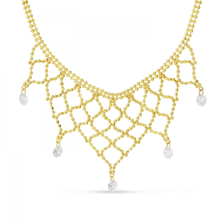 14K Yellow Gold Dashing Diamond 5 stone Bib Necklace