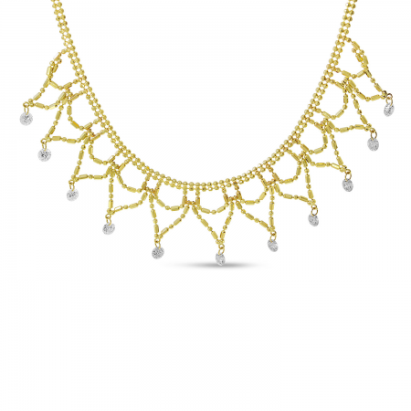 14K Yellow Gold Dashing Diamond Cleopatra Bib Necklace