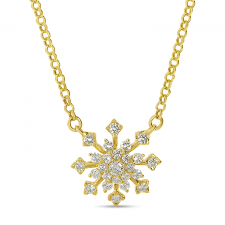 14K Yellow Gold Diamond Snowflake Necklace