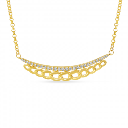 14K Yellow Gold Diamond Chain Link Bar Necklace