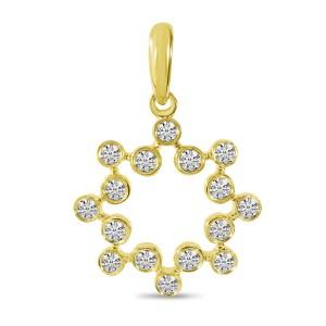 14K Yellow Gold Diamond Bezel Circle Pendant