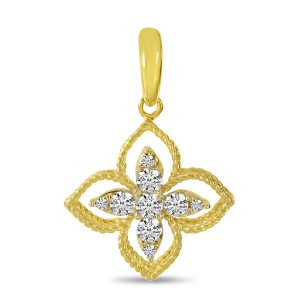 14K Yellow Gold Diamond Floral Millgrain Pendant