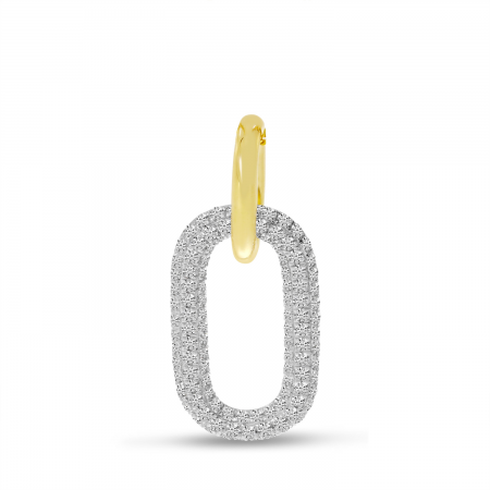 14k Yellow Gold Diamond and Gold Link Pendant