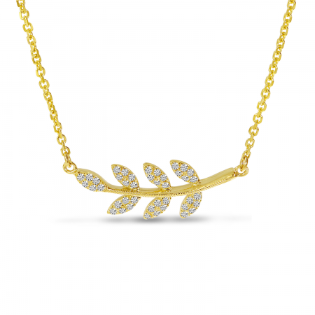 14K Yellow Gold East 2 West Diamond Leaf Necklace