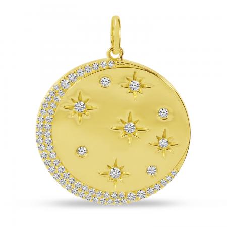14K Yellow Gold Diamond Star Disc Pendant