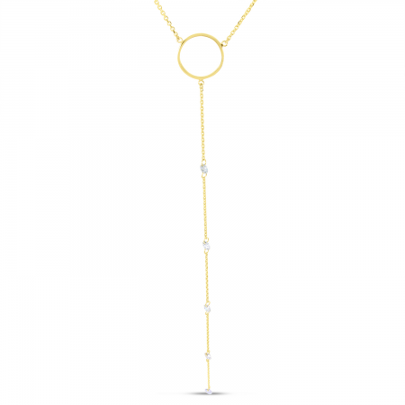 14K Yellow Gold Dashing Diamond Circle Lariat Necklace