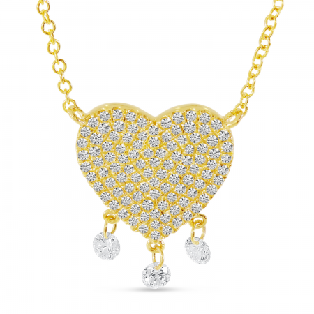 14K Yellow Gold Dashing Diamond Heart Necklace