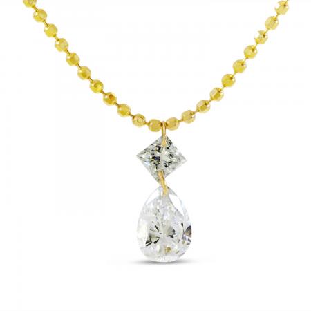 14K Yellow Gold Dashing Diamond Princess Cut & Pear Drop Necklace