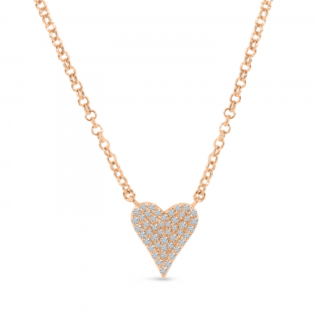 14K Rose Gold Small Diamond Heart Necklace