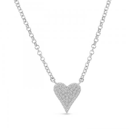 14K White Gold Small Diamond Heart Necklace