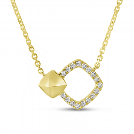 14K Yellow Gold Diamond Open Square Necklace