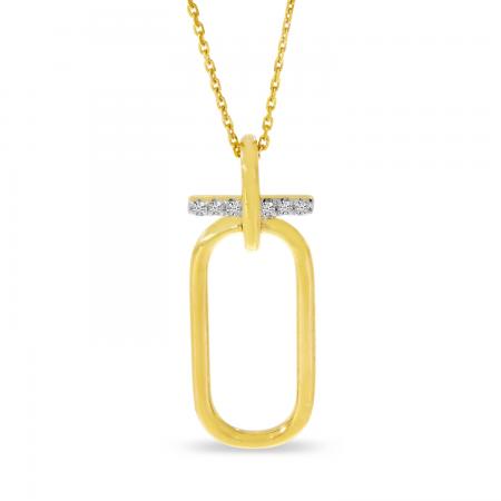 14K Yellow Gold Diamond Wire Paperclip Pendant