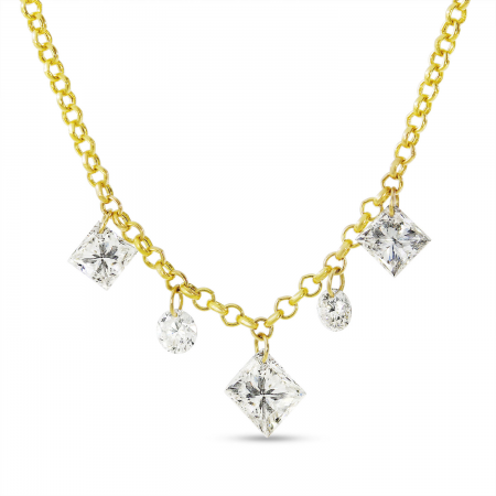 14K Yellow Gold Dashing Diamond Fancy Princess and Round Diamonds Cable Chain Necklace