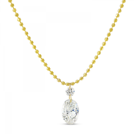 14K Yellow Gold Dashing Diamond Round and Oval Diamond Bead Chain Necklace