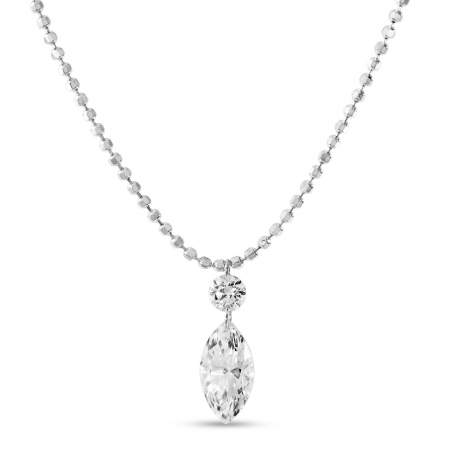 14K White Gold Dashing Diamond Fancy Round and Marquise Bead Chain Necklace