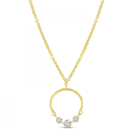14K Yellow Gold Dashing Diamond Half Circle Necklace