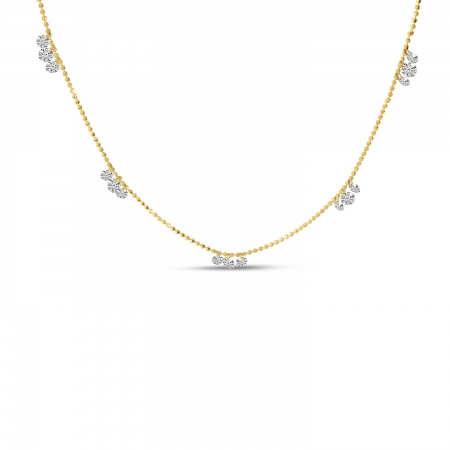 14K Yellow Gold Triple Dashing Diamond Five Station Necklace