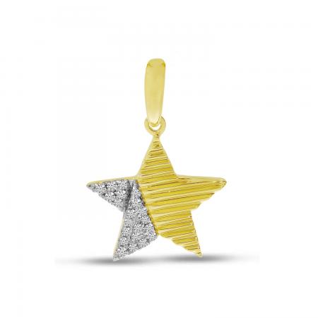 14K Yellow Gold Diamond Textured Star Pendant