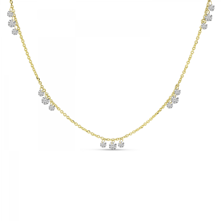 14K Yellow Gold Dashing Diamonds 3-Diamond 5-Station Necklace