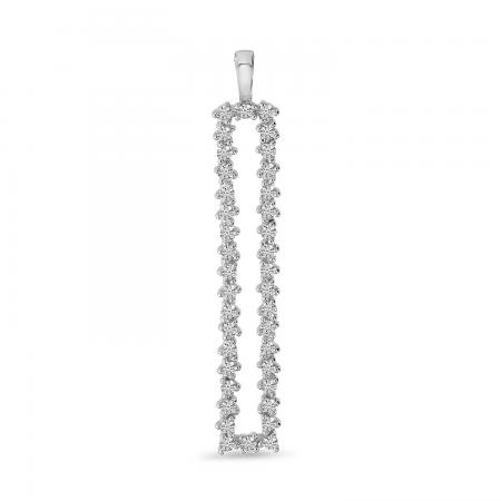14K White Gold Diamond Long Rectangle Scattered Pendant
