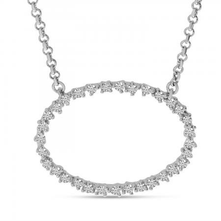 14K White Gold Diamond Oval Scattered Necklace