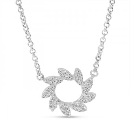 14K White Gold Diamond Pinwheel Necklace