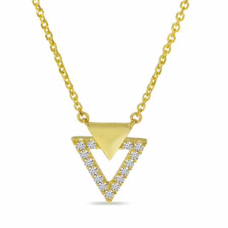 14K Yellow Gold Diamond Double Triangle Necklace
