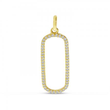 14K Yellow Gold Diamond Paperclip Pendant
