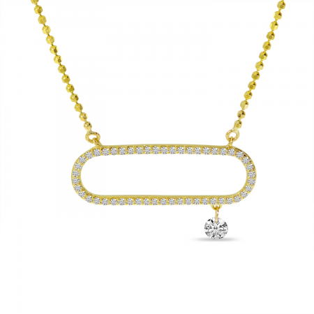 14K Yellow Gold Dashing Diamond Open Paperclip Necklace