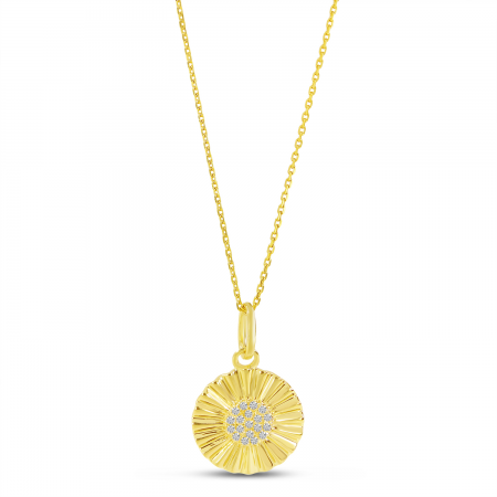 14K Yellow Gold Diamond Textured Disc Pendant