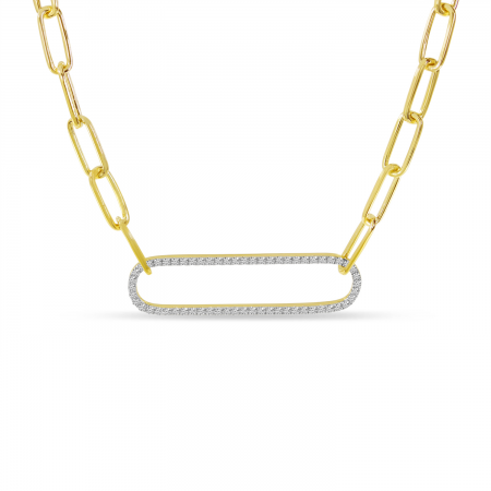 14K Yellow Gold Large Diamond Paperclip Link Necklace