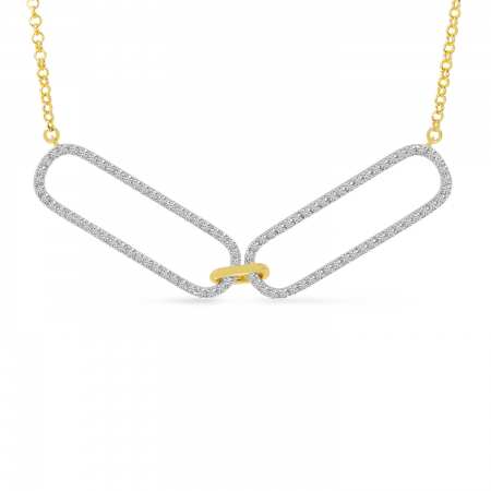 14K Yellow Gold Double Diamond Paperclip Link Necklace