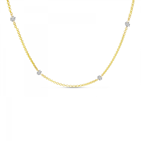 14K Yellow Gold Double-Drilled Diamond By The Yard Necklace