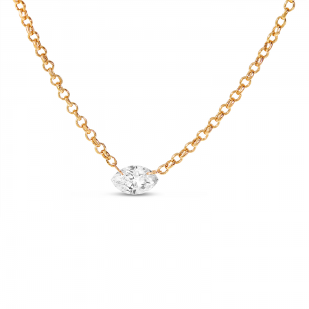 14K Rose Gold Dashing Diamonds East 2 West Marquis Necklace