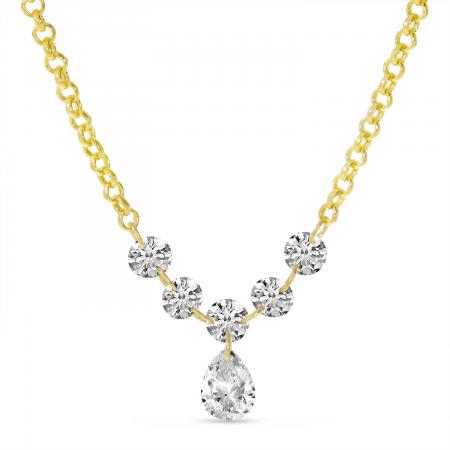 14K Yellow Gold Dashing Diamond Pear Drop Necklace