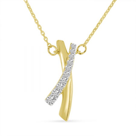 14K Yellow Gold Brushed Gold X Necklace