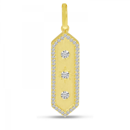14K Yellow Gold Diamond Halo Brushed Bar Pendant