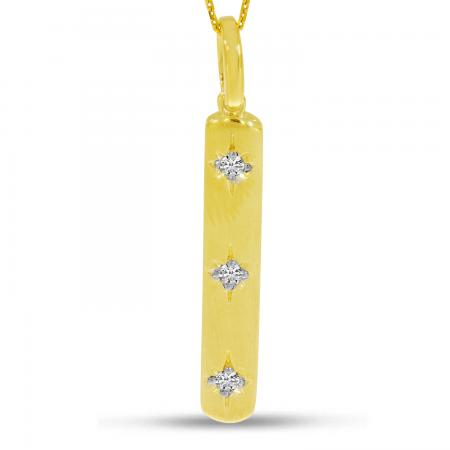 14K Yellow Gold 3-Diamond Star Bar Pendant