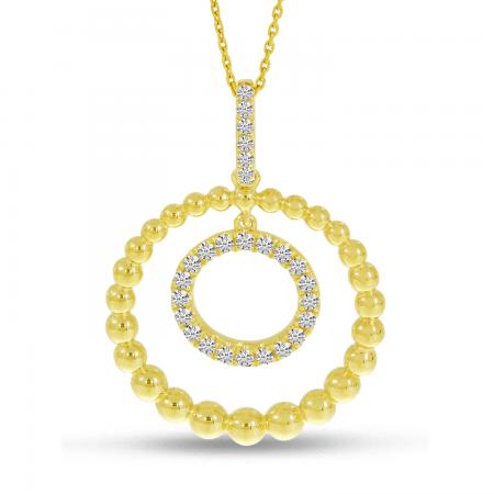 14K Yellow Gold Beaded Sphere Dangle Pendant