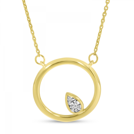14K Yellow Gold Diamond In Open Circle Necklace