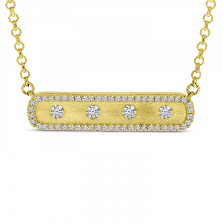 14K Yellow Gold Diamond East 2 West Bar Necklace