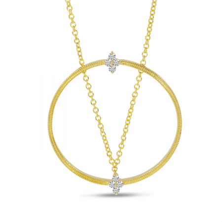 14K Yellow Gold Millgrain Diamond Circle Necklace