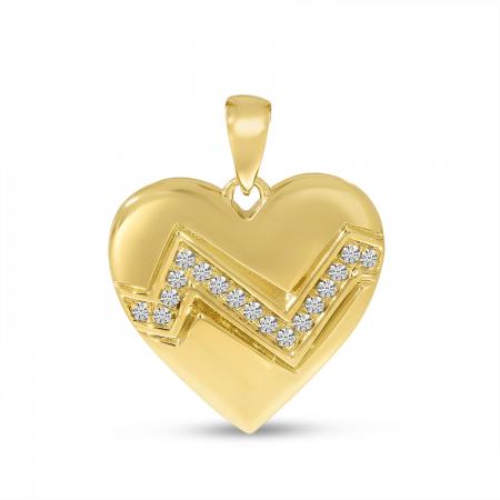14K Yellow Gold Puffed Diamond Zigzag Heart Pendant