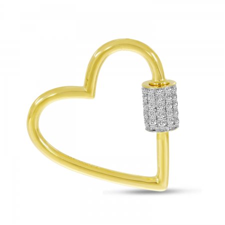 14K Yellow Gold Diamond Heart Lock Pendant