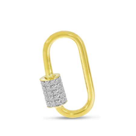 14K Yellow Gold Diamond Lock Pendant