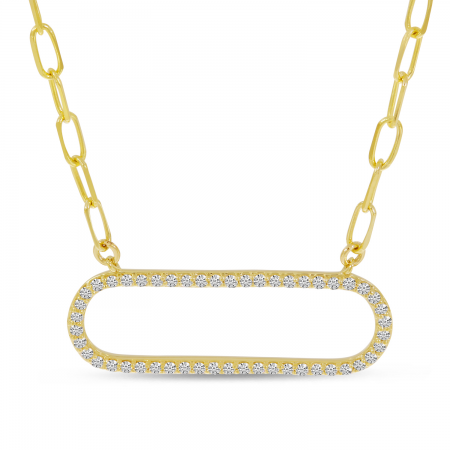 14K Yellow Gold Diamond Paperclip Necklace