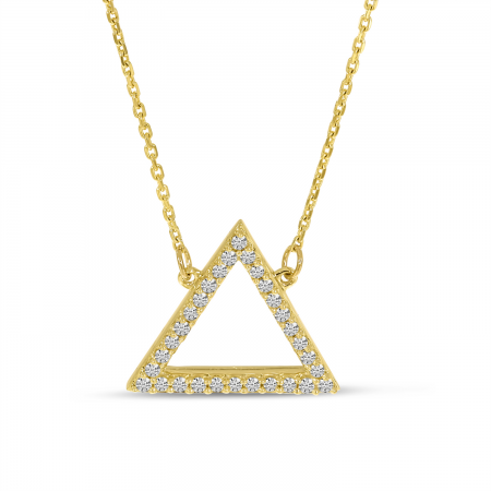 14K Yellow Gold Diamond Open Triangle Necklace