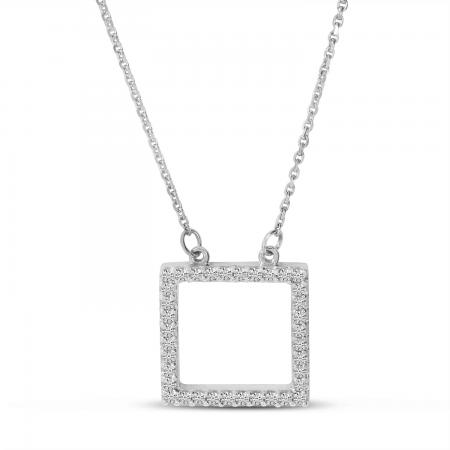 14K White Gold Diamond Open Square Necklace
