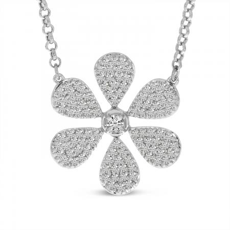 14K White Gold Large Diamond Flower Necklace