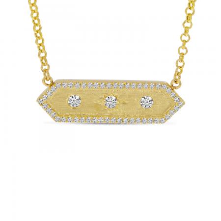 14K Yellow Gold Diamond Halo Brushed Hexagon Bar Pendant